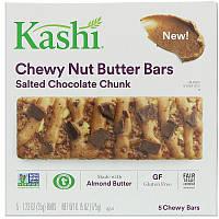Kashi, Жевательные батончики с ореховым маслом, Соленая шоколадная крошка, 5 баточников, 1,23 унц. (35 г) каждый