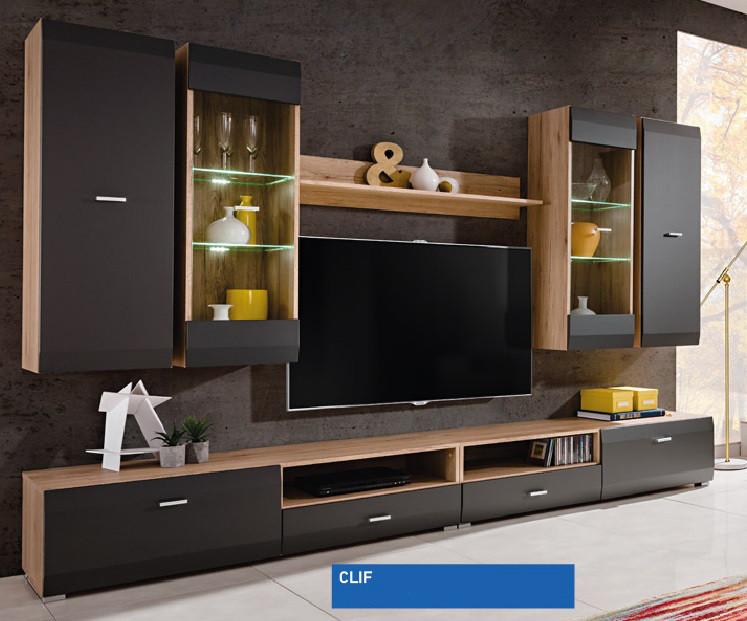 Стінка модульна у вітальню/спальню з ДСП/Скло Clif чорний Furnival