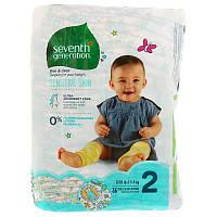 Seventh Generation, Для малышей, Чистые и сухие подгузники, Размер 2, 12-18 фунтов (5-8 кг), 36 подгузников