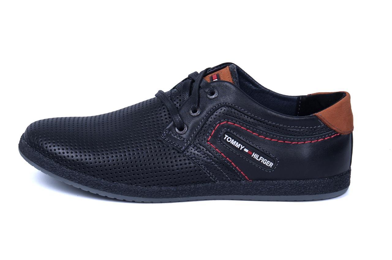 Мужские кожаные летние кроссовки, перфорация Tommy black