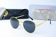 Солнцезащитные очки Rb круглые черные в золоте, фото 1