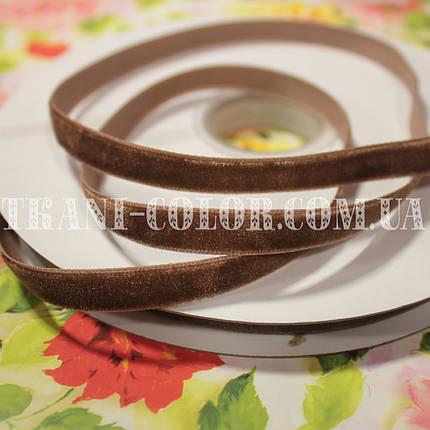 Велюровая (бархатная) лента шоколадная, 1см, 20м, фото 2