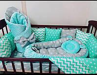 Бортики-защита+постельное бельё +конверт- плед+кокон+ортопедическая подушка , фото 1