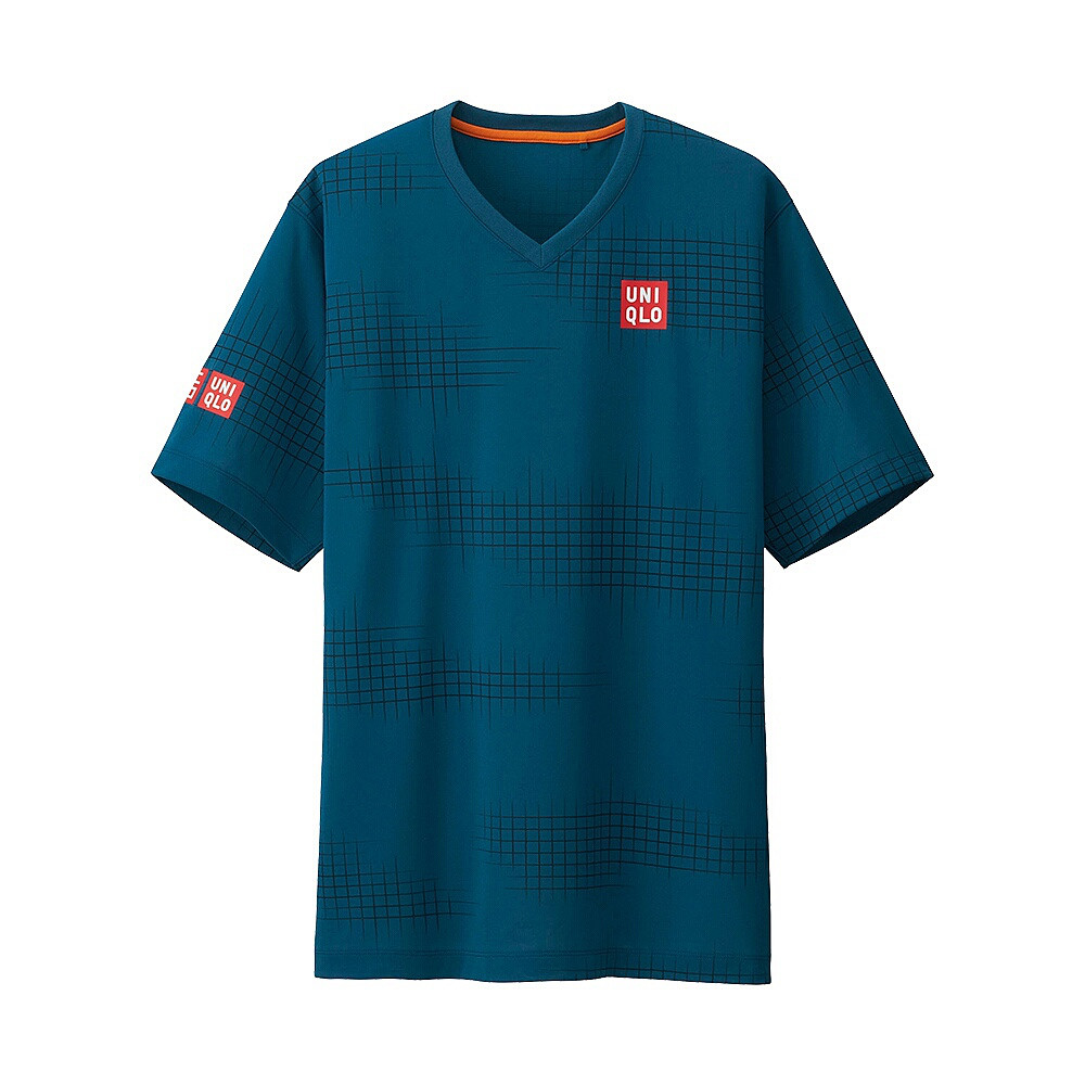 Спортивная мужская футболка Uniqlo Men Nishikori Dry Ex BLUE