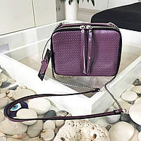 """Сумка женская кожаная  """"Amy"""" фиолетовый с плетением, фото 1"""