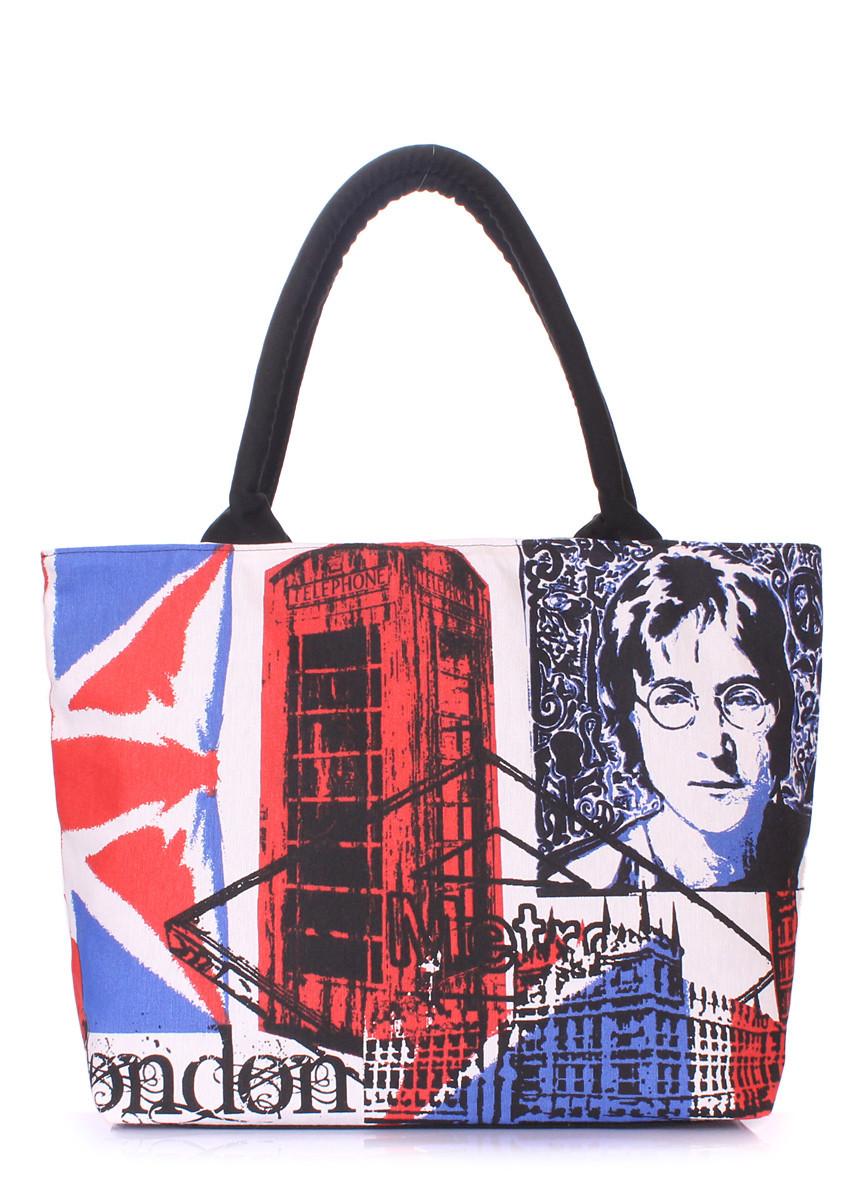 Коттоновая сумка POOLPARTY с трендовым принтом голубая