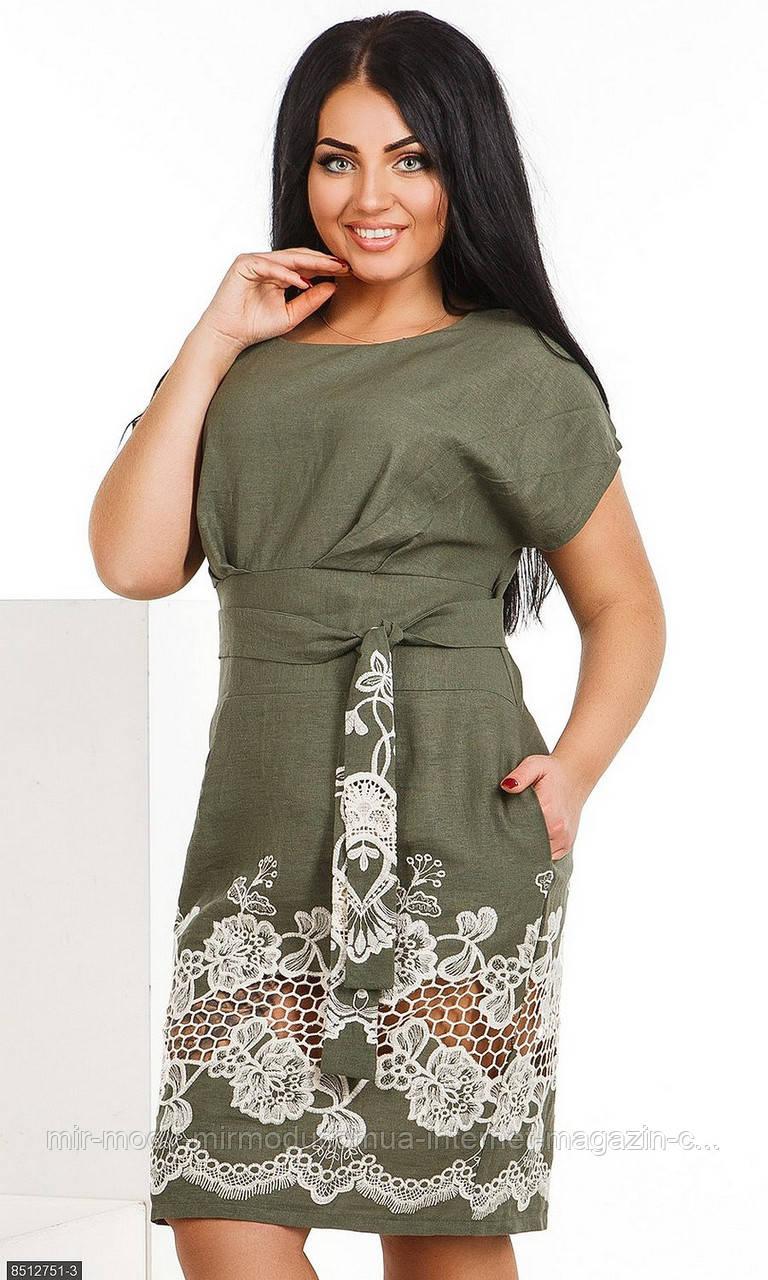 Платье 8512751-3 хаки Лето 2018  с 50 по 56 размер (мш)