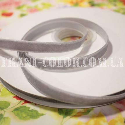 Велюровая (бархатная) лента серая, 1см, 20м, фото 2