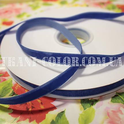 Велюровая (бархатная) лента синяя, 1см, 20м, фото 2