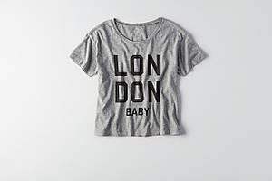 Женская футболка с надписью AEO Boxy City Graphic T-Shirt GRAY
