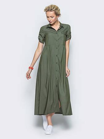 Сукня-сорочка з полегшеного джинса хаки  розмір 44,46,48,50, фото 2