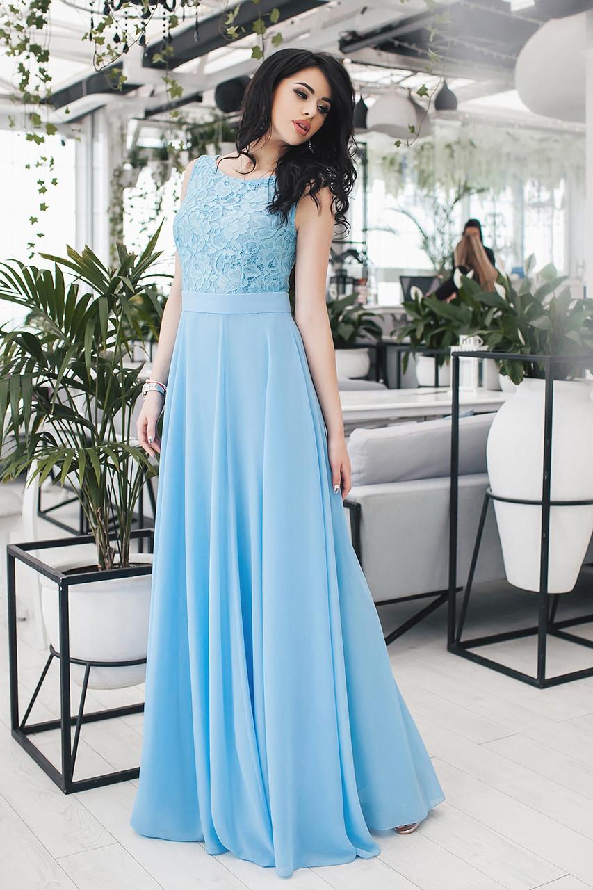 Платье вечернее Аделия голубое