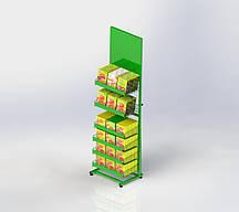 Стойка торговая металлическая под бакалею (6 сетчатых корзин)