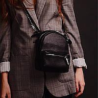"""Женская кожаная сумка-рюкзак """"Janet"""" черная, фото 1"""