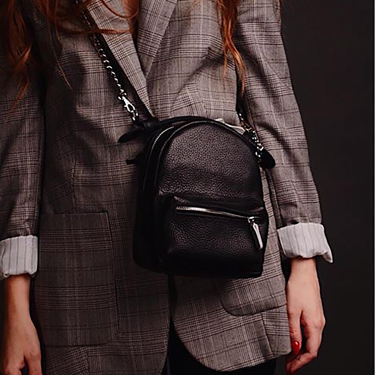"""Женская кожаная сумка-рюкзак """"Janet"""" черная"""