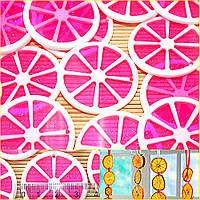(5шт) Апельсиновые дольки d=35мм, с отверстием, пластик Цена указана за 5шт Цвет - Розовый