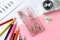 Чехол Бампер Glitter Жидкий блеск для Meizu M5 с блестками звезды розовый