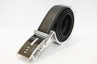 Пояс из черного кожезаменителя, длина полотна 1150 мм, пряжка автомат корпус серого цвета (11398)