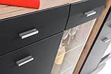 Комод трьохдверний з шухлядою у вітальню сан ремо/графіт матовий ДСП HB Clif Furnival, фото 7