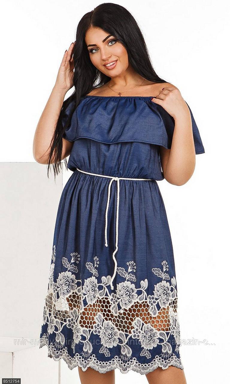 Платье 8512754 синий джинс катон Весна-Лето 2018  с 50 по 56 размер (мш)