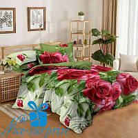 Семейное постельное белье из сатина КРАСНЫЕ РОЗЫ (2 пододеяльника)