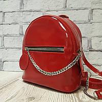 """Женский кожаный рюкзак """"Judy"""" красный глянец, фото 1"""