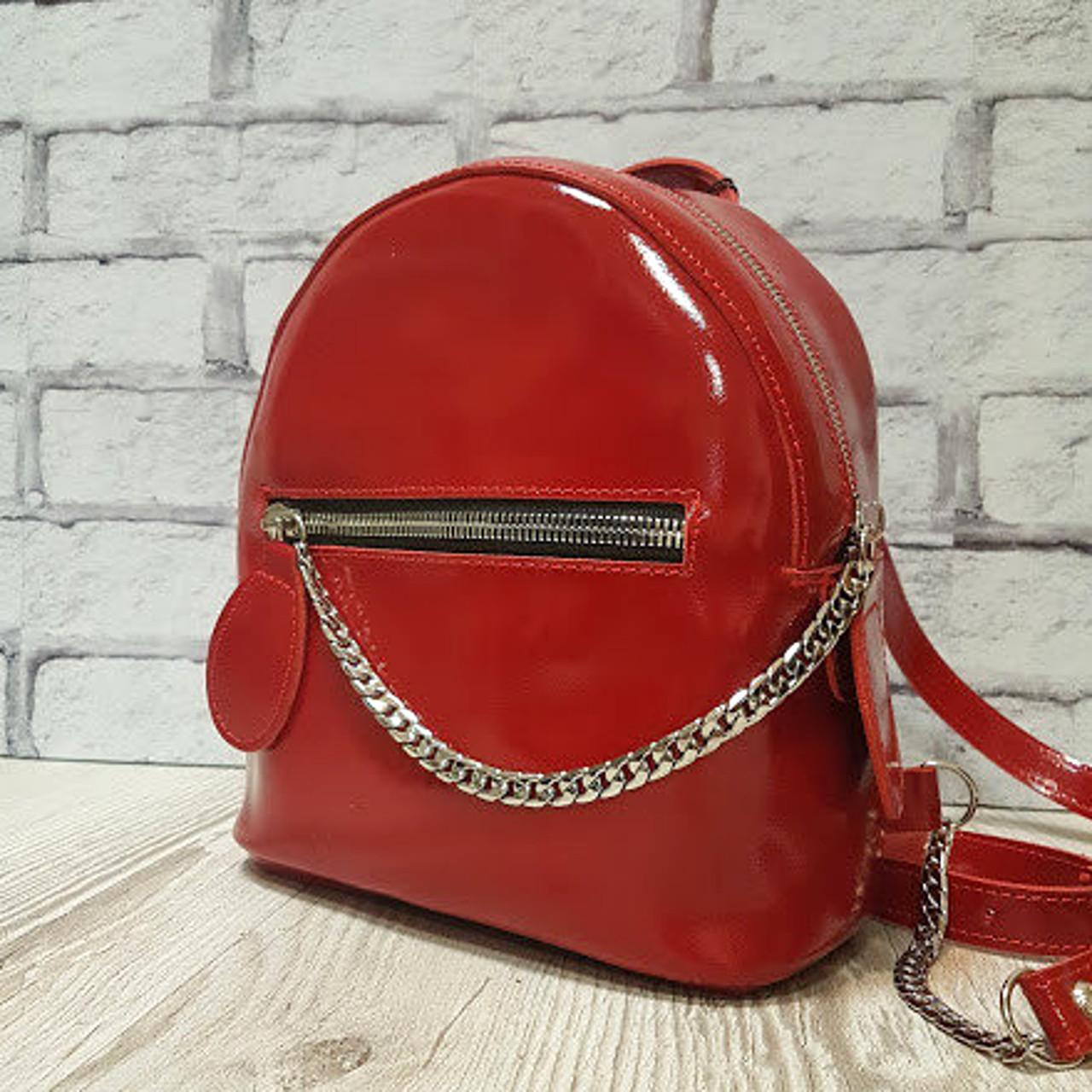 """Женский кожаный рюкзак """"Judy"""" красный глянец"""