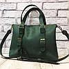 """Мужская кожаная сумка """"Beverly""""  зеленая crazy horse"""