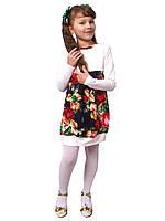 Платье  детское с длинным рукавом   М -1021 трикотажное молочное. Размеры 98. 104. 110., фото 1