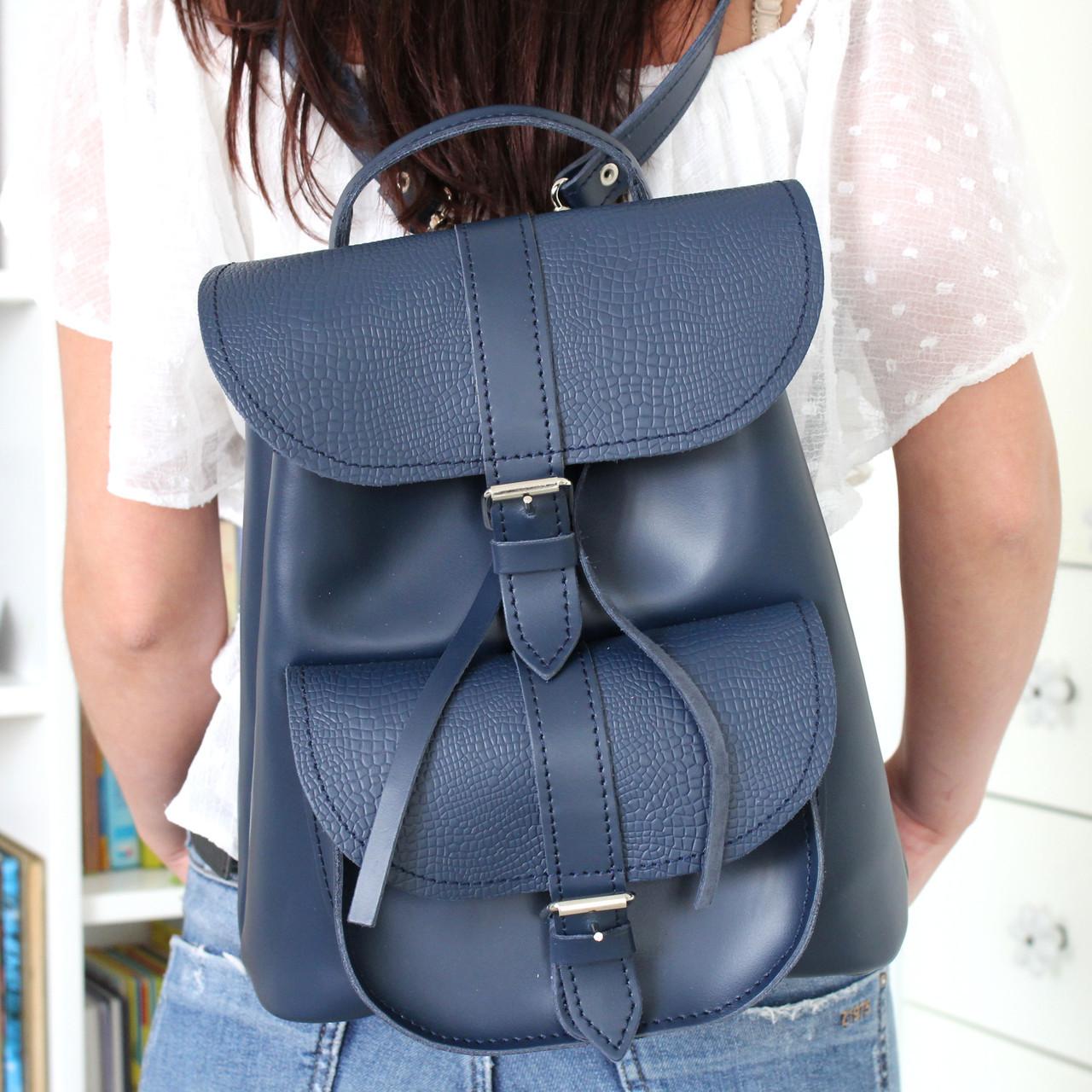 """Женский кожаный рюкзак """"Patsy"""" темно-синий под рептилию"""
