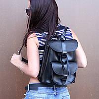 """Женский кожаный рюкзак """"Patsy"""" черный с плетением, фото 1"""