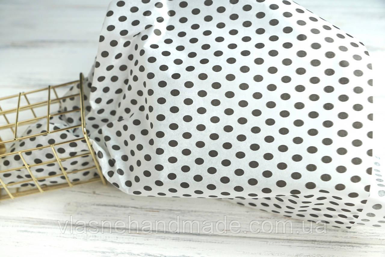 Папір тішью БІЛИЙ В ЧОРНИЙ ГОРОШОК (50х70 см)