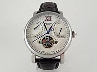 Мужские Patek Philippe -  tourbillon черный кожаный ремешок, корпус цвет серебро, светлый циферблат, фото 1
