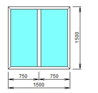 STEKO Окно глухое металопластиковое белое с перегородкой 1,5 х 1,5 м