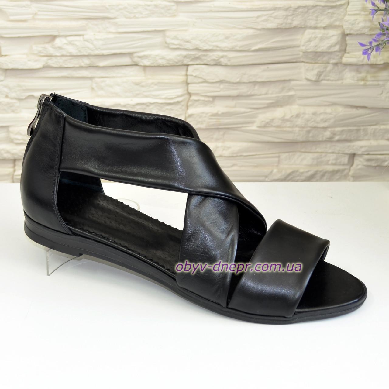 Кожаные черные женские босоножки римлянки