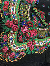 Настоящий чёрный платок шерстяной Украинский с люрексом, фото 3