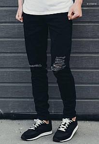 Мужские рваные черные джинсы Staff TR black destroyed KST0010