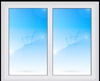 STEKO Окно глухое металопластиковое белое с перегородкой 2,0 х 1,5 м