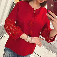 Рубашка женская коттон кружево красный