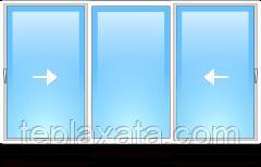 STEKO Окно глухое металопластиковое белое с 2-мя перегородками 3,0 х 1,5 м