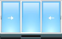 STEKO металопластикове Вікно глухе біле з 2-ма перегородками 3,0 х 1,5 м