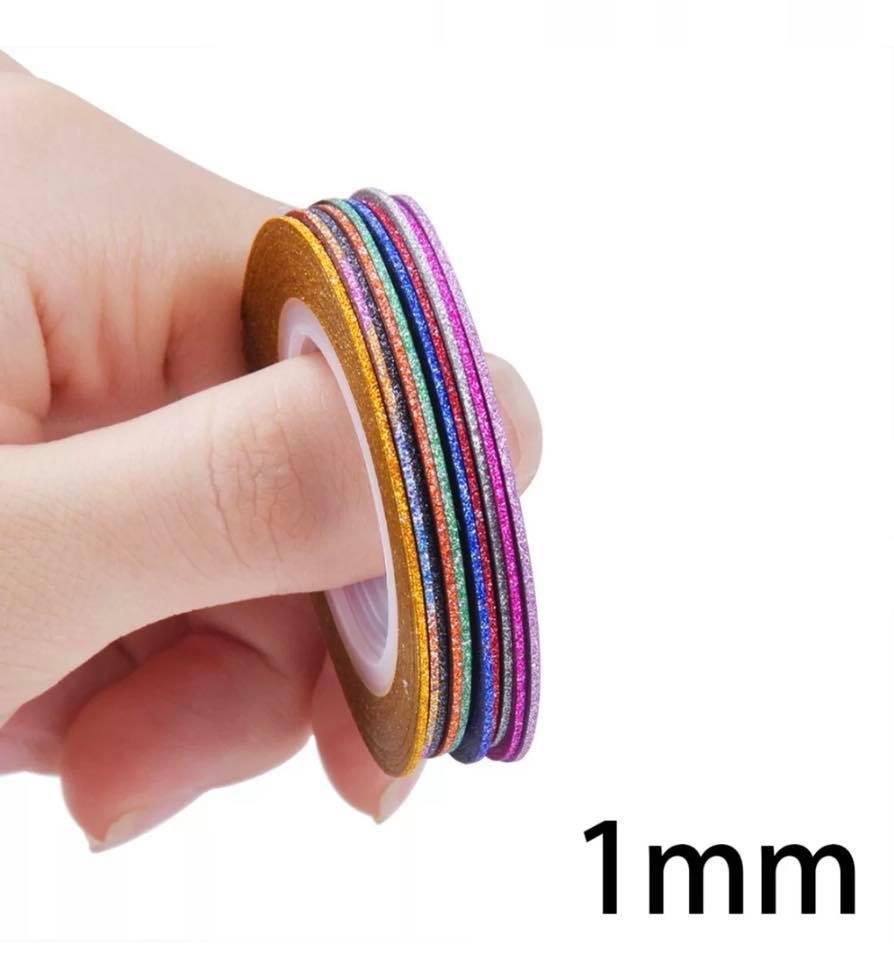 Лента матовая с шиммером для дизайна ногтей 1 мм  10 шт