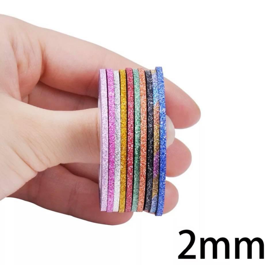 Лента матовая с шиммером для дизайна ногтей 2 мм  10 шт