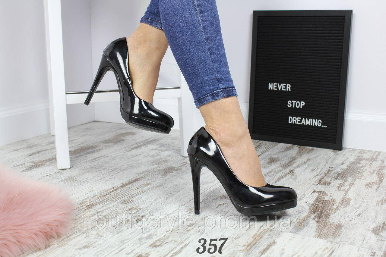 Только 36 размер! Женские черные лакированные  туфли