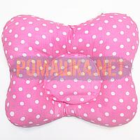 Подушка двухсторонняя ортопедическая для новорожденных верх 100% хлопок, 30х25 см 4060 Малиновый