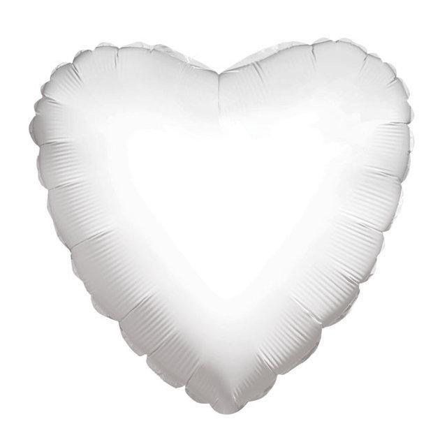 Куля фольгований серце 45 см біле матове китай