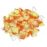 Лепестки роз (уп. 120шт) кораллово-желтые, фото 1