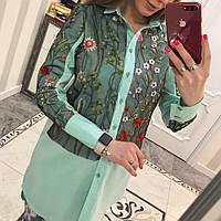 Рубашка женская коттон +вышика  мелкие Цветы зелёный, фото 1