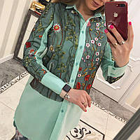 Рубашка женская коттон +вышика  мелкие Цветы зелёный