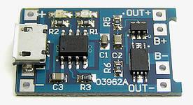 Плата защиты и контроля зарядки Li-Ion аккумуляторов 18650 TP4056 Модуль зарядки